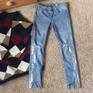 Zara denim fringed Jeans with metallic accents